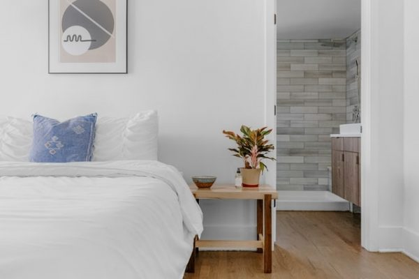 contemporary white bed
